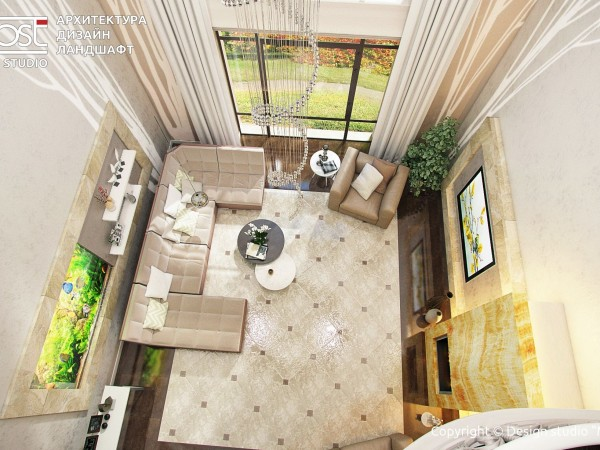 Двухуровневая гостиная с камином из оникса