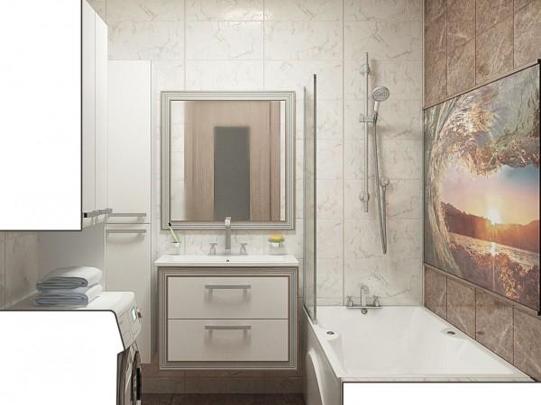 Ванна со стеклянным панно