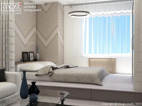 Спальня гостиная с подиумом