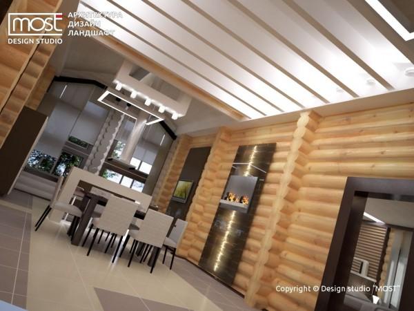 Решение потолка в кухне-гостиной в деревянном доме.