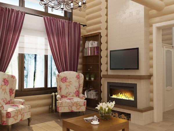 Дизайн интерьера бревенчатого дома.