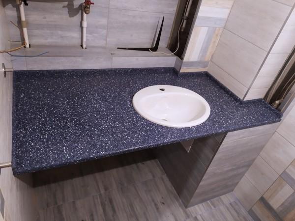 Столешница для ванной комнаты из искусственного камня Tristone F-102 Aquamarine
