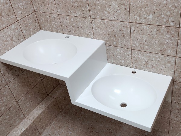 Столешница с 2 раковинами из камня Hi-Macs для санузла
