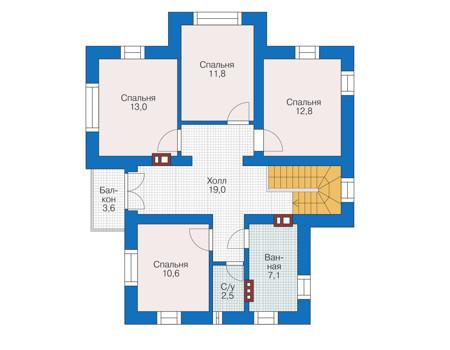 Проект бетонного дома 55-95 план