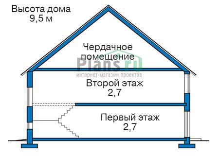 Проект бетонного дома 55-96 план
