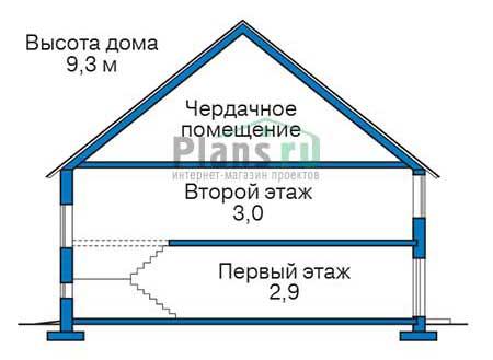 Проект бетонного дома 55-97 план