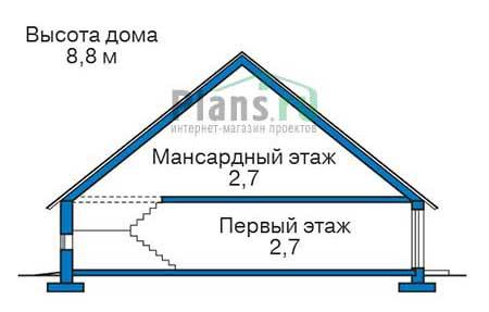 Проект бетонного дома 55-98 план
