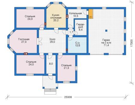 Проект бетонного дома 55-99 план