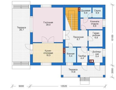 Проект бетонного дома 56-00 план