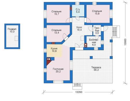 Проект бетонного дома 56-01 план