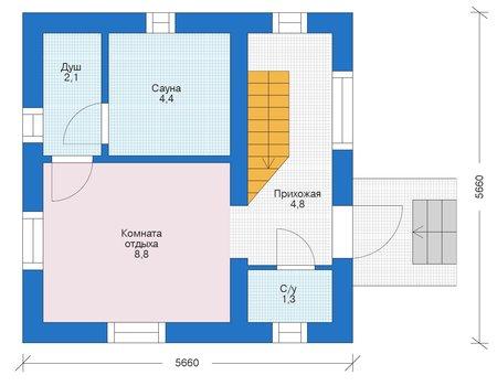 Проект бетонного дома 56-02 план