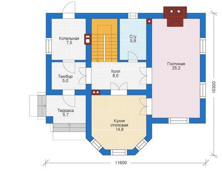 Проект бетонного дома 56-03 план