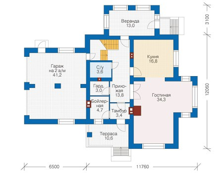 Проект бетонного дома 56-06 план