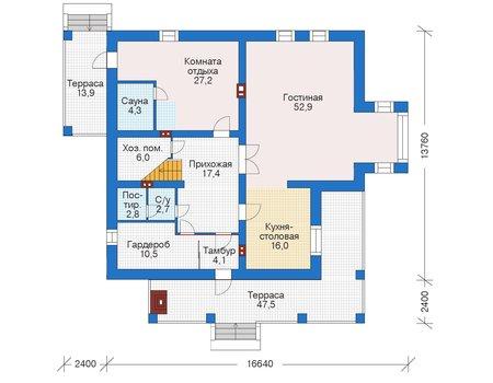 Проект бетонного дома 56-08 план
