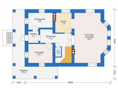 Проект бетонного дома 56-09 план