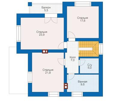 Проект бетонного дома 56-14 план