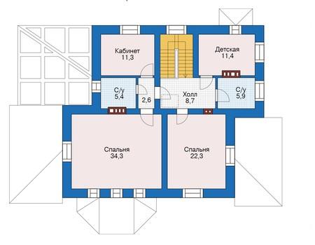 Проект бетонного дома 56-15 план