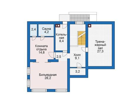 Проект бетонного дома 56-16 план