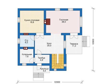 Проект бетонного дома 56-25 план