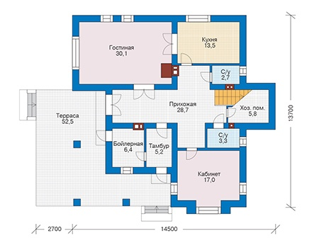 Проект бетонного дома 56-28 план