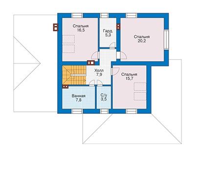 Проект бетонного дома 56-29 план