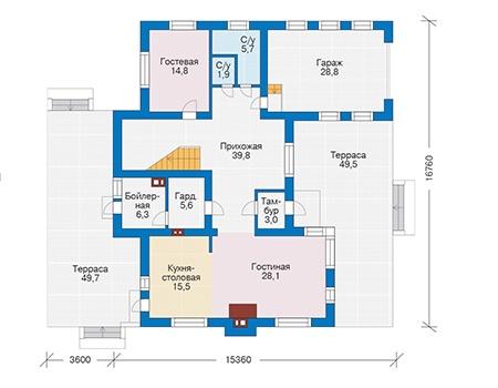 Проект бетонного дома 56-36 план