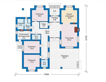 Проект бетонного дома 56-37 план