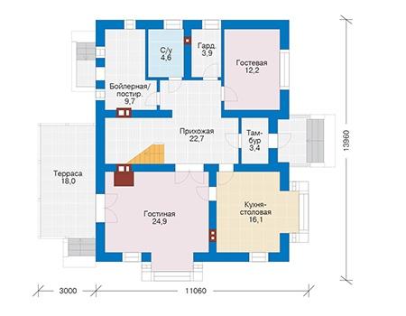Проект бетонного дома 56-40 план