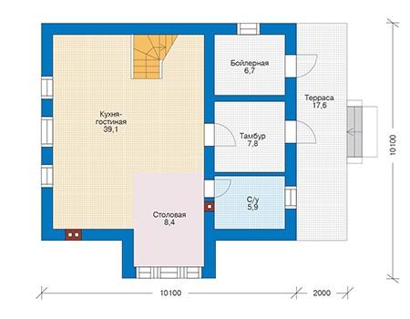 Проект бетонного дома 56-41 план