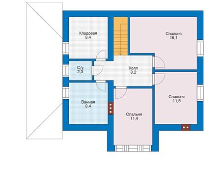 Проект бетонного дома 56-42 план