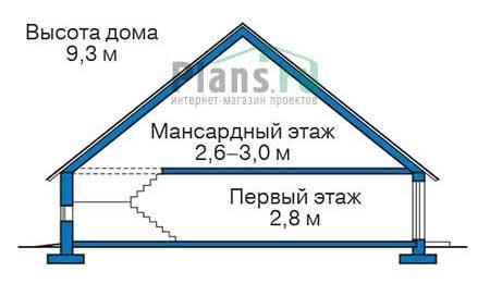 Проект бетонного дома 56-43 план