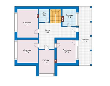 Проект бетонного дома 56-44 план