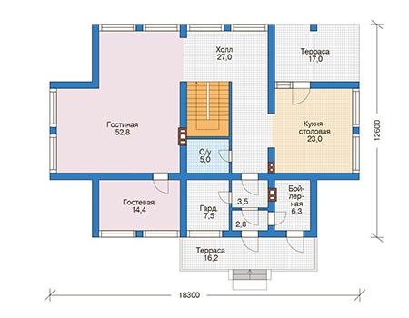 Проект бетонного дома 56-47 план