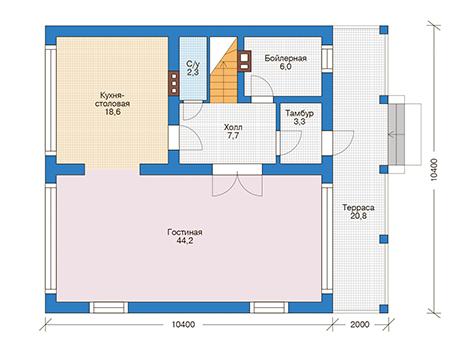 Проект бетонного дома 56-49 план