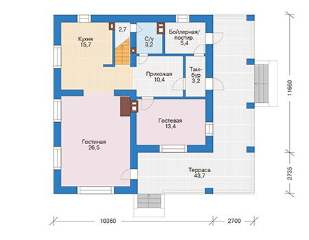 Проект бетонного дома 56-53 план
