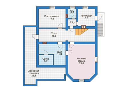Проект бетонного дома 56-54 план