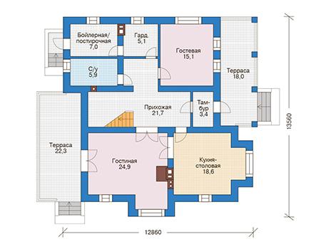 Проект бетонного дома 56-56 план