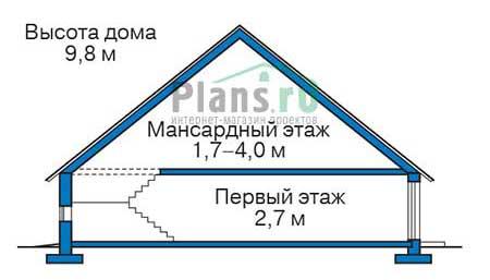 Проект бетонного дома 56-57 план