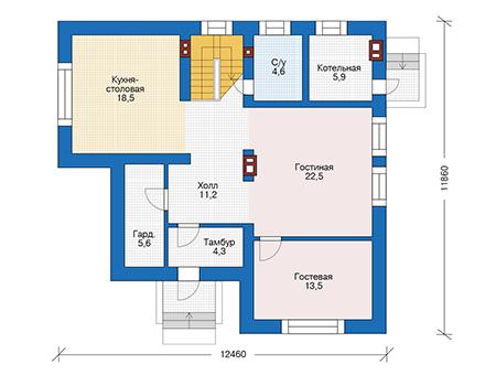 Проект бетонного дома 56-64 план
