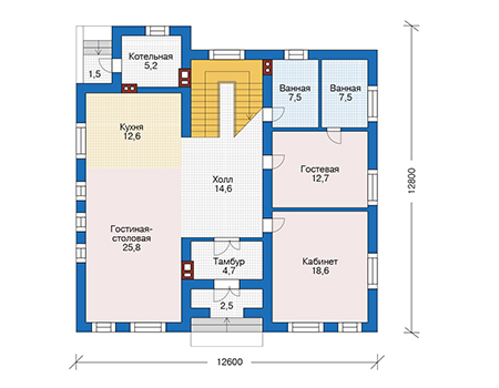 Проект бетонного дома 56-65 план