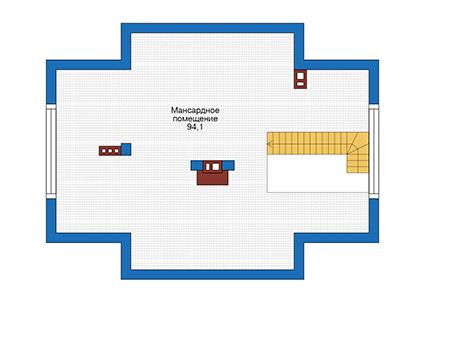 Проект бетонного дома 56-66 план