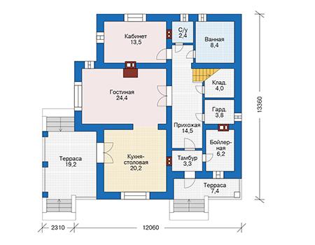 Проект бетонного дома 56-67 план