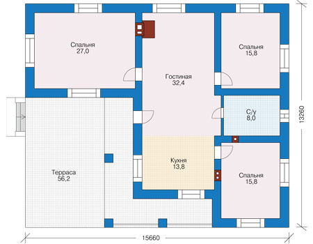 Проект бетонного дома 56-72 план