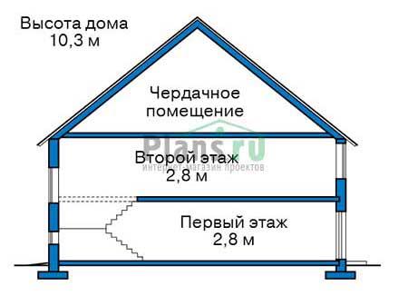 Проект бетонного дома 56-73 план