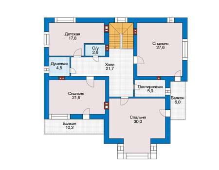 Проект бетонного дома 56-75 план
