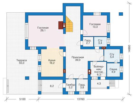 Проект бетонного дома 56-77 план