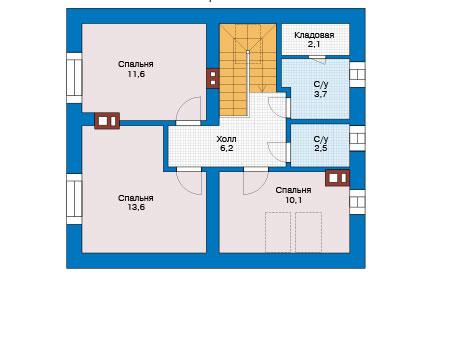 Проект бетонного дома 56-78 план