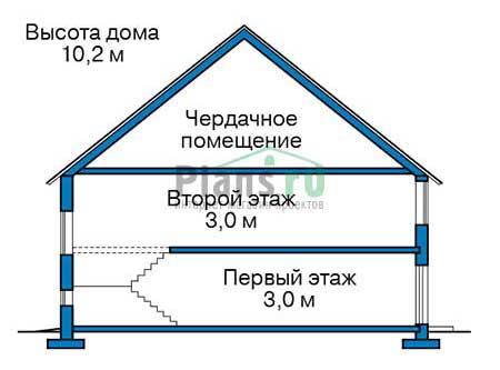 Проект бетонного дома 56-79 план