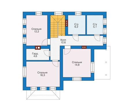 Проект бетонного дома 56-81 план