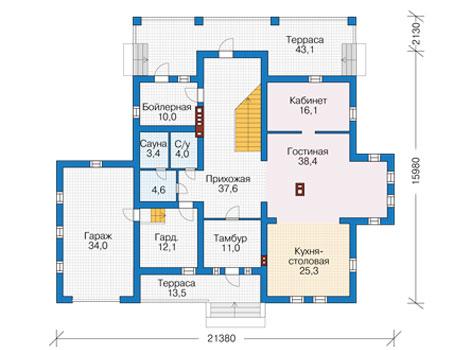 Проект бетонного дома 56-82 план